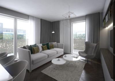 Górny Taras – mieszkanie 11, projekt wnętrza oraz wizualizacje wykonane przez 1050 Pracownia Architektury