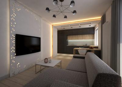 Górny Taras – mieszkanie 7, projekt wnętrza oraz wizualizacje wykonane przez 1050 Pracownia Architektury